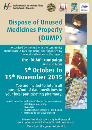 Cork County Council Supports Dispose of Unused Medicines Properly (DUMP) Campaign in Cork