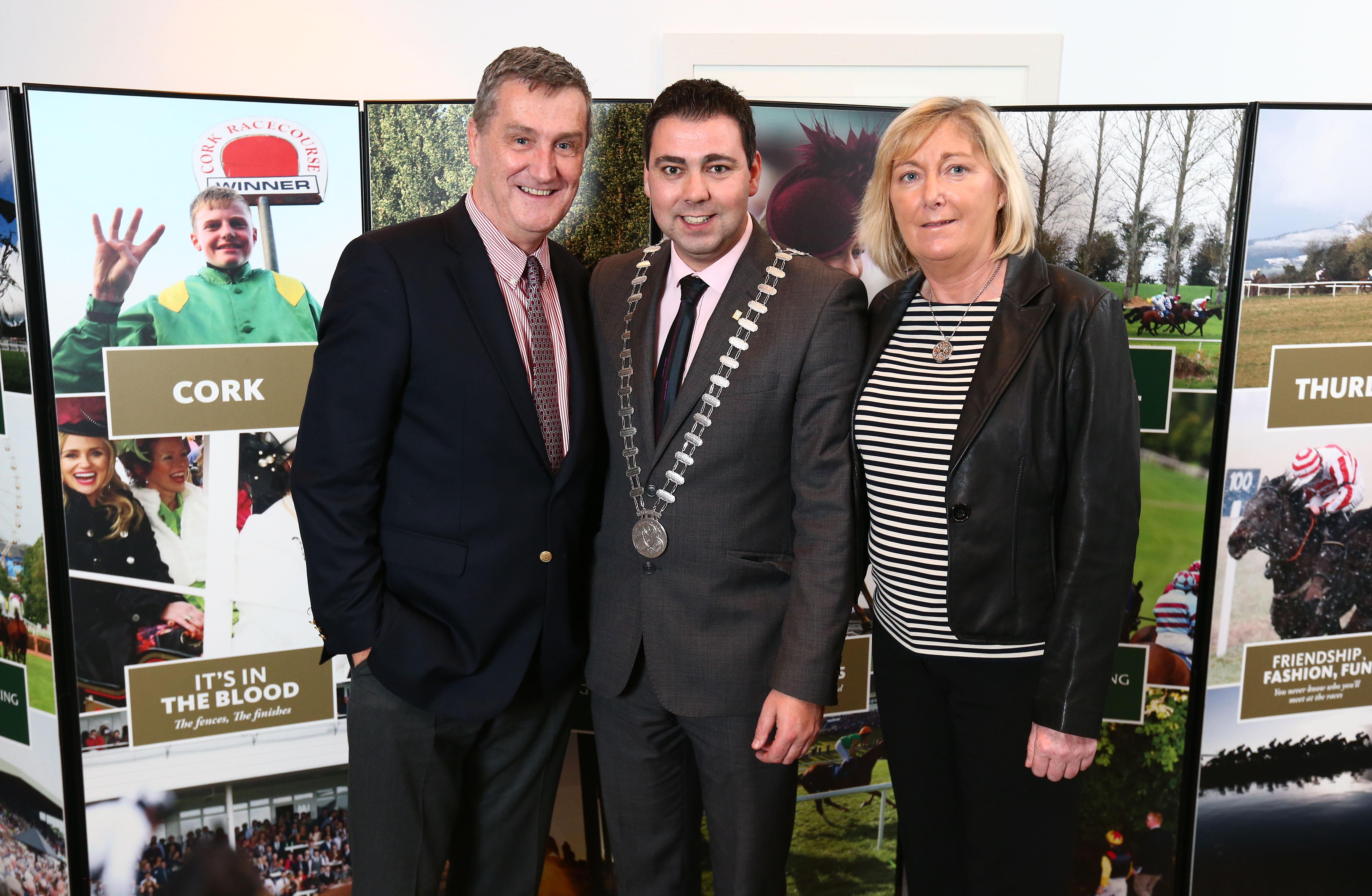 (left/right) Leo Powell, Mayor of Cork John Paul O'Shea, and Mary Kelly