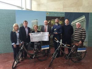 Cork County Council staff making the presentation of €2,616 to Marymount Hospice, Cork