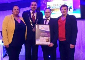 Mayor of County Cork Cllr. John Paul O' Shea with the Wild Board Production Team who were finalists in the Best Business Started with assistance from the Back to Work Enterprise Allowance / Short Term Enterprise Allowance category in the Duhallow Business Awards 2015.