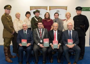 At the launch of Cork County Council's 1916/2016 Centenary Programme at Vertigo, County Hall were (front, left to right): Cllr. Frank O'Flynn, Chairperson Cork County Council 1916 All-Party Commemoration Committee, Mayor of the County of Cork, Cllr. John Paul O'Shea, Michael O'Reilly, Department Arts, Heritage and Gaeltacht and Tim Lucey, Chief Executive, Cork County Council. Back: Cllr. Susan McCarthy and and Conor Nelligan, Cork County Council along with members of the Irish Military History Group and the Cobh Animation Group. Picture: Martin Walsh.