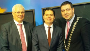 Pictured at the announcement of the European Regional Development Fund Designated Urban Centre Grant Scheme in Dublin this week where Mallow Town Hall is to undergo a €2m refurbishment were Tom Stritch, Director of Services, Cork County Council, Minister for Tourism Paschal Donohoe & Mayor of County Cork Cllr John Paul O'Shea.