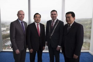 From Left to Right: Chief Executive of Cork County Council Mr. Tim Lucey with Mayor of Xuzhou Mr. Zhou, Mayor of the County of Cork Cllr. John Paul O' Shea and Deputy Mayor of Xuzhou Mr. Wang at the signing the Memorandum of Understanding between Cork County and Xuzhou.