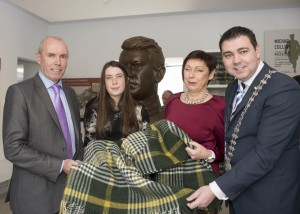 Tim Lucey, Chief Executive, Cork County Council (left) with Ruth Collins and Helen Collins (descendants of Michael Collins) and Cllr. John Paul O'Shea, Mayor of the County of Cork with the Michael Collins travel blanket during the official opening of the Michael Collins Museum in Clonakilty. Photo: Martin Walsh.