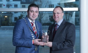The Mayor of the County of Cork, Cllr John Paul O' Shea and Conor Hyde, Hyde Irish Whiskey, brewed in Skibbereen and recent winner of the best Single Malt Irish Whiskey in the world   pictured as The Mayor of County  Cork, Cllr John Paul O' Shea  hosted a Mayoral Reception at County Hall in honour of a number of Cork people.