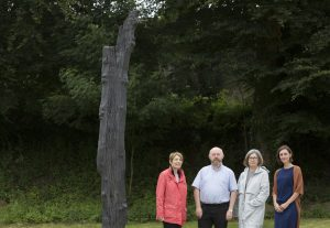 Sheila O'Keeffe of Kanturk/Mallow Municipal District Cork County Council, Ian McDonagh Arts Officer Cork County Council, Artist Eilis O'Connell and  Louise Ward Public Art Co-Ordinator OPW, pictured in Tip O'Neill Park with O'Connell's art work 'Atlantic Oak', commissioned by the Office of Public Works and Cork County Council under the Per Cent for Art scheme in relation to Mallow Flood Defence Works. Picture Clare Keogh