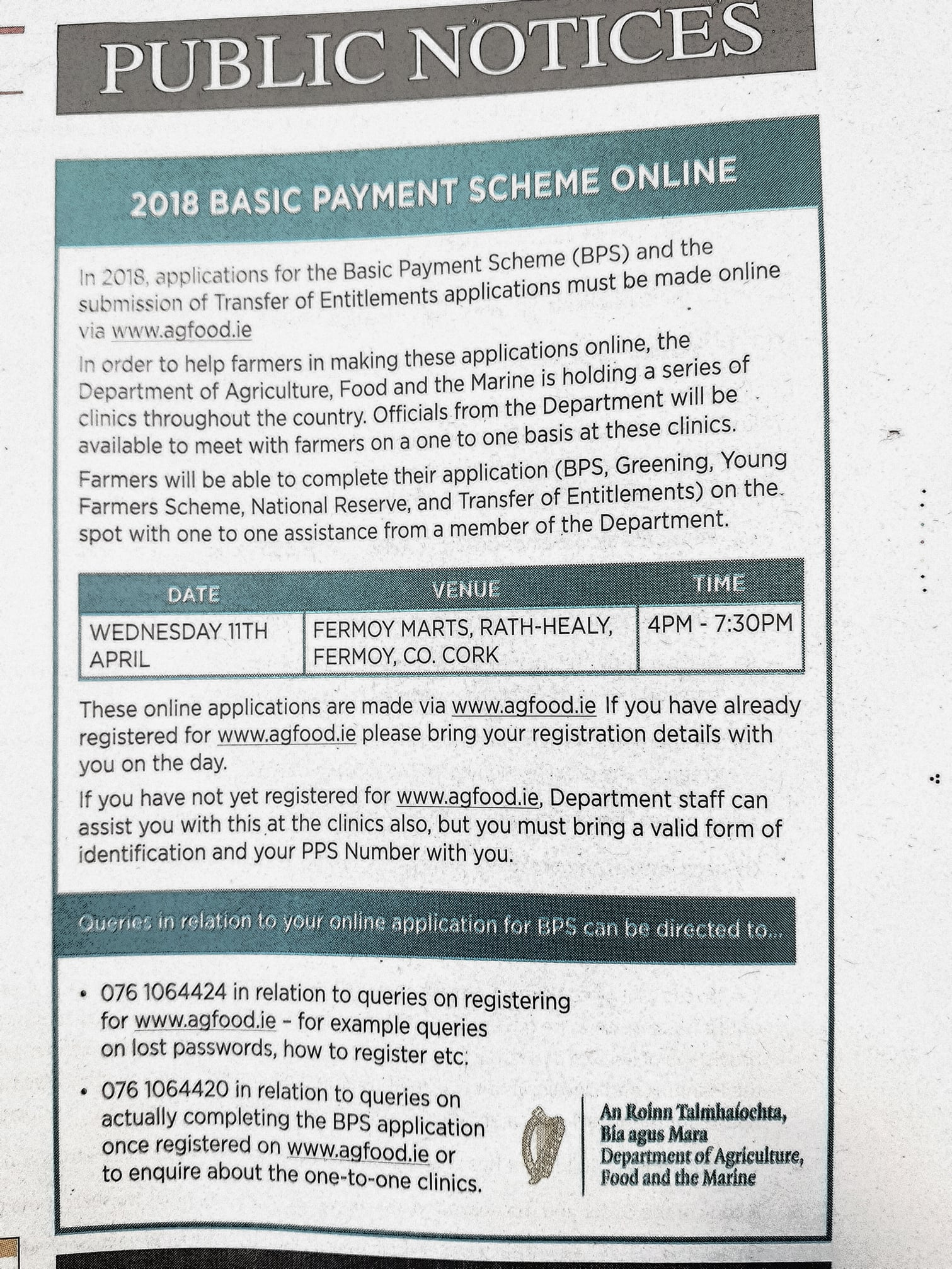 Online clinic for North Cork Farmers Applying for Basic Payment Scheme (BPS)