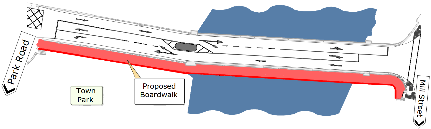 Proposed Layout Plan with Directions and River